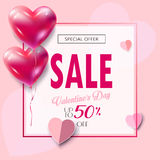 Valentines Day Sale Banner Paper Cut Stock Images