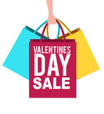 Valentines day sale banner with shopping bags. Valentines day sale banner design with shopping bags Stock Image