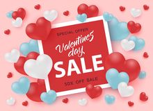 Valentines Day Sale banner with sign in bright red square frame surrounded by hearts. Valentines Day Sale banner with sign in bright red square frame surrounded vector illustration