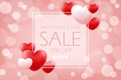 Valentines Day Sale banner. Special offer background with red and pink hearts for holiday shopping. 50% off discount. Shop now. Vector illustration Royalty Free Stock Photos