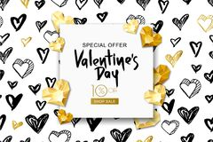 Valentines day sale banner. Vector gold gem heart on watercolor background. Design for flyer, poster, party invitation. Valentines day sale banner. Vector vector illustration