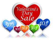 Valentines day sale and different percentages rebate in hearts b Royalty Free Stock Images