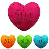 Valentines day sale and different percentages rebate in hearts b Stock Photos