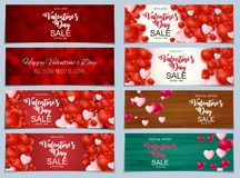 Valentines Day Sale, Discont Card Collection Set. Vector Illustration vector illustration