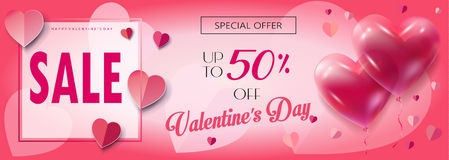 Valentines Day Sale web banner royalty free illustration