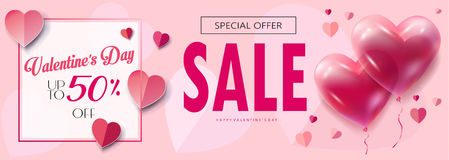 Valentines Day. Sale discount banner for Valentines Day set. Vector template. Special offer poster with heart balloons, festive background. Love, poster, banner Stock Photo