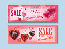 Valentines Day. Sale discount banner for Valentines Day set. Vector template. Special offer poster with heart balloons, festive background. Love, poster, banner Royalty Free Stock Image
