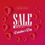 Valentines day Sale. Sale Discount Offer poster for Valentines Day. Sale Gift card. Vector template. Romantic poster with hearts, festive background. Business Stock Images