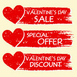 Valentines day sale and discount, special offer with hearts in r Royalty Free Stock Photo