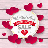 Valentines Day Sale Emblem Hearts Pink Wood Royalty Free Stock Photo