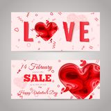 Happy Valentines Day greeting card. Valentines Day sale flyer set. 3d paper cut heart concept design flyer template. Vector sale banner set. Paper carving heart Stock Photos
