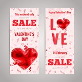 Happy Valentines Day greeting card. Valentines Day sale flyer set. 3d paper cut heart concept design flyer template. Vector sale banner set. Paper carving heart Royalty Free Stock Photos