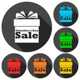 Valentines Day Sale - Gift box icons set with long shadow. Vector icon Stock Images