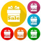 Valentines Day Sale - Gift box icons set with long shadow. Vector icon Royalty Free Stock Images