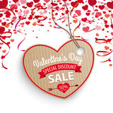 Valentines Day Sale Heart Confetti Hearts Carton Price Sticker Royalty Free Stock Photography