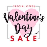Valentines Day SALE lettering, heart card Royalty Free Stock Photography