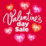 Valentines Day sale poster. handwritten lettering. Set of discount tags 10,20,30,40,50,60,70 percent off in the shape of. Hearts. Holiday offer. Vector vector illustration