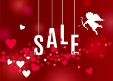 Valentines day sale poster  with hearts and white cupid silhouette on red backdrop. Beautiful love background for Valentines day sale poster or banner design Stock Photos