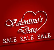 Valentines day sale poster with ribbon Stock Images