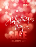Valentines day sale, poster template on abstract background with hearts and bokeh circles. Vector illustration Stock Images