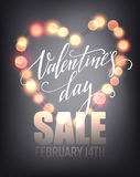 Valentines day sale, poster template on abstract background with hearts and bokeh  Royalty Free Stock Images