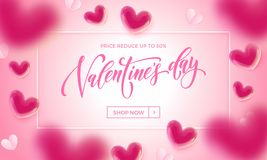 Valentines day sale poster of valentine balloon and paper hearts pattern on pink background. Vector Valentines day shop now discou Stock Images