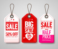 Valentines day sale price tags and labels vector set with half price Stock Photography