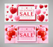 Valentines Day Sale Promotional Creative Design Banners Set. In Gray Background. Vector illustration Stock Photography