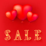 Valentines day sale red banner. Valentines day sale background with red heart balloons pattern. Vector illustration. Wallpaper, flyers, invitation, posters Stock Image