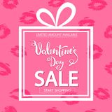 Valentines Day sale. Square banner in form of gift. Lips print on pink background. Valentines Day sale. Square banner in form of gift. Lips print on pink Royalty Free Stock Photo
