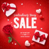 Valentines day sale text vector banner design with love gifts, rose and hearts. In red pattern background for valentines day discount promotion. Vector Royalty Free Stock Images