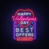 Valentines Day sale vector design template poster in neon style. Neon sign, neon banner with discounts, bright night Royalty Free Stock Images