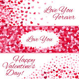 Valentines day sale vector love banners with hearts. Valentines day sale vector love banners set with origami purple hearts on white background Stock Photography