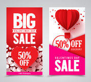 Valentines day sale vector poster designs and web banners Stock Images