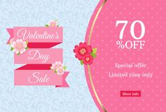 Valentines day sale web banner design template. Pink flat ribbon on blue floral background. Polka dot pattern with 70 percent off. Discount limited time offer Royalty Free Stock Photos