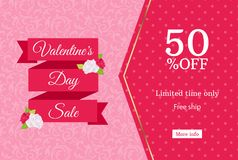 Valentines day sale web banner design template. Pink flat ribbon on floral background. Polka dot pattern 50 percent off discount Stock Image