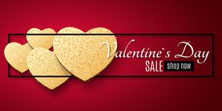 Valentines Day sale web banner. Golden hearts of glitters in a black frame. Romantic banner. Advertising web banner for sale. Spec. Ial offer. Vector Stock Image