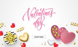 Valentines day sale web banner for shopping of heart gift box decoration with chocolate candy in golden wrapper. Vector pink text Royalty Free Stock Images