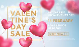 Valentines day sale web banner of valentine red heart balloons on blue shine background. Vector Valentines day sale golden text fo. R holiday shop discount promo Stock Images