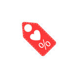 Valentines day sales tag with heart solid icon Royalty Free Stock Image