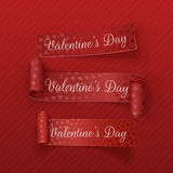 Valentines Day scroll textile Ribbons Set Stock Photo