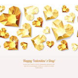 Valentines day  seamless background with 3d gold heart diamonds, gems, jewels. Golden holiday texture for Valentines greeting card, banner, poster, flyer Royalty Free Stock Photography
