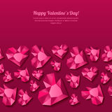 Valentines day  seamless background with 3d stylized pink heart diamonds, gems, jewels. Concept for Valentines banner, poster, flyer, party invitation Royalty Free Stock Photo