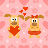 Valentines day seamless background with dog Stock Photos