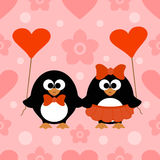 Valentines day seamless background with penguin Stock Photos