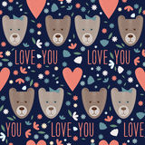 Valentines day seamless pattern background with funny cartoon bears. And hearts royalty free illustration