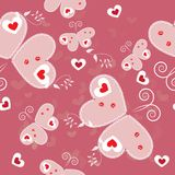 Valentines Day seamless pattern. With butterflies Royalty Free Stock Photos