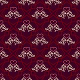 Valentines Day seamless pattern with couples birds and hearts. Trendy linear design of love symbols. Juicy rich background. Royalty Free Stock Image