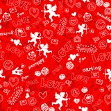 Valentines Day seamless pattern with Cupid Royalty Free Stock Photography