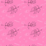Valentines Day seamless pattern in doodle style. Royalty Free Stock Photo